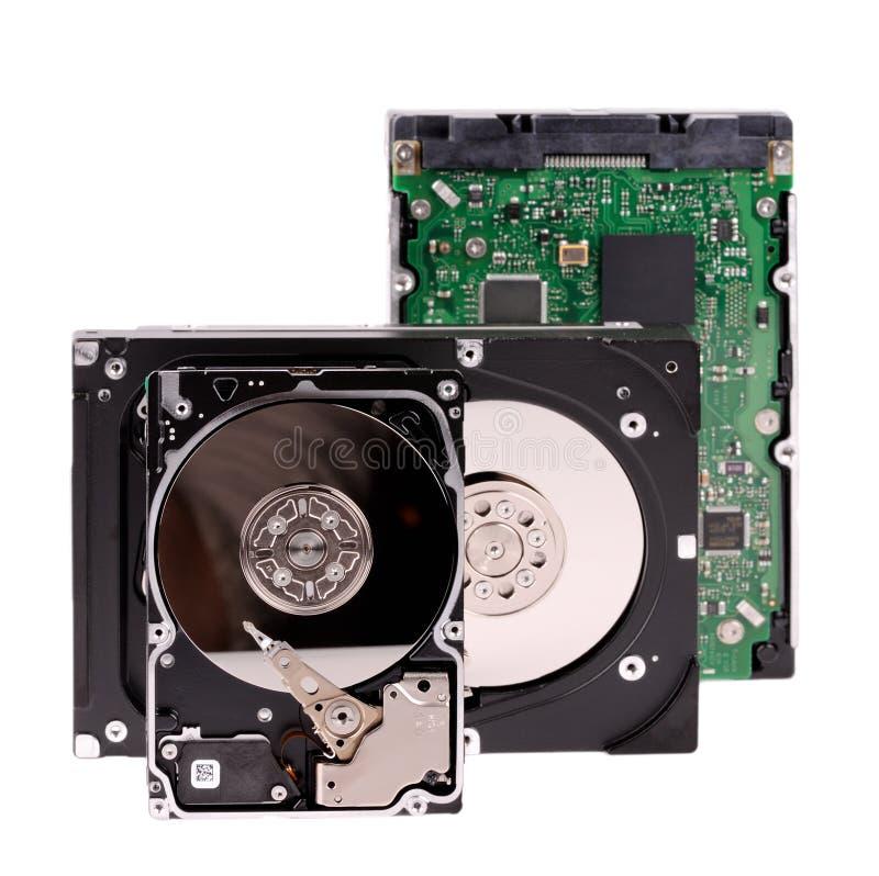 Раскрытые изолированные дисководы жесткого диска стоковая фотография rf