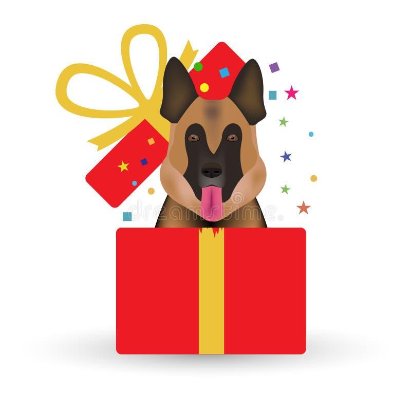Раскрытые подарочная коробка и собака - символ новое 2018 белизна изолированная предпосылкой также вектор иллюстрации притяжки co иллюстрация штока
