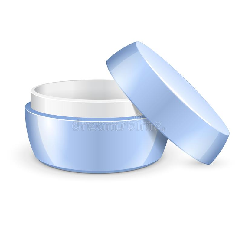 Раскрытые пустые сливк, гель или порошок, свет - голубой опарник может покрыть бутылку Пробел на белой предпосылке иллюстрация штока