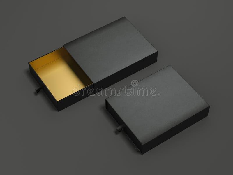 Раскрытые черные пакеты картона перевод 3d иллюстрация штока