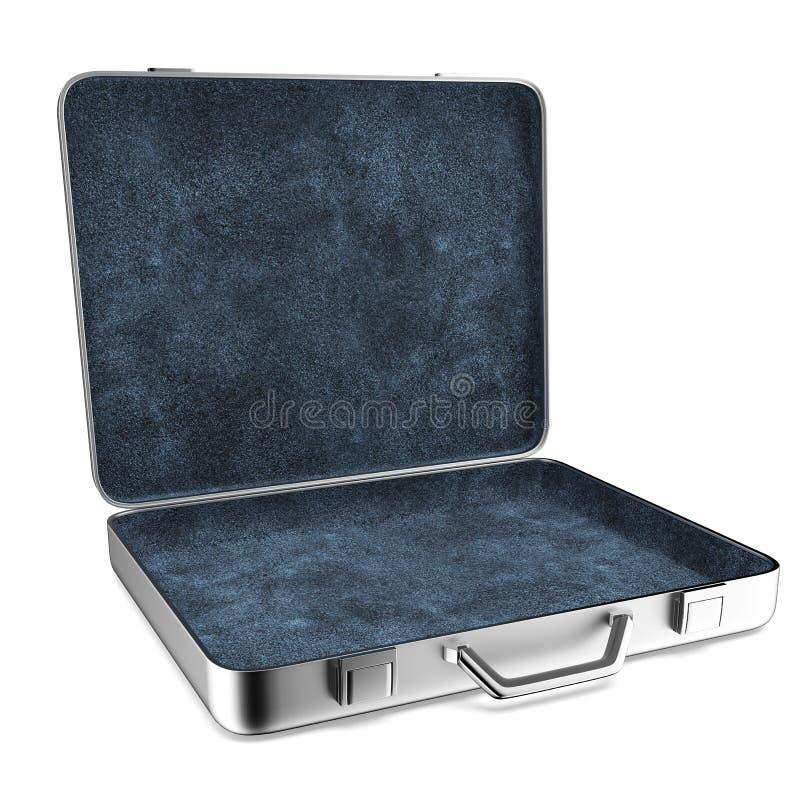 Раскрытый алюминиевый чемодан иллюстрация штока