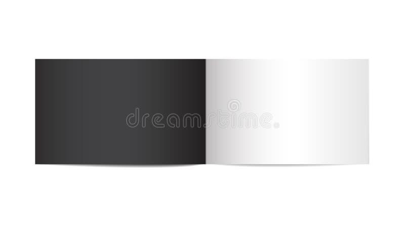 Раскрытый вертикальный шаблон журнала, брошюры или тетради на белой предпосылке Насмешка вектора вверх буклета изолированного с ч бесплатная иллюстрация