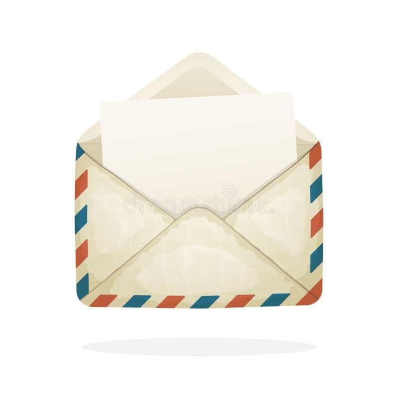 Раскрытый винтажный конверт почты бесплатная иллюстрация