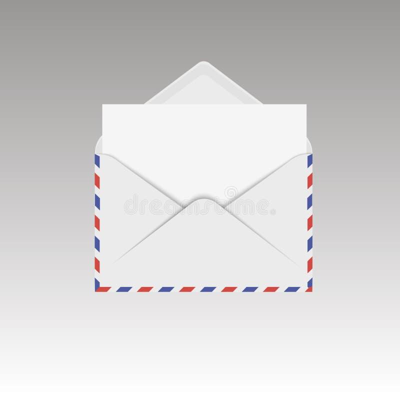 Раскрытый конверт воздушной почты с белым листом также вектор иллюстрации притяжки corel иллюстрация штока