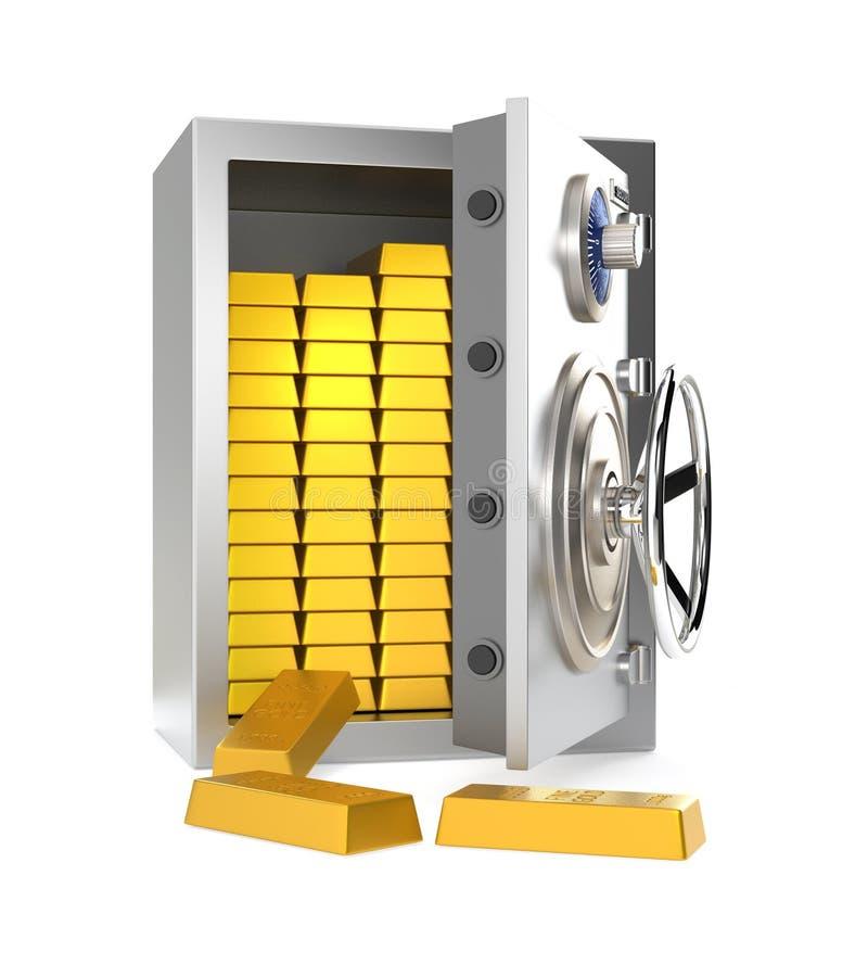 Раскрытый домашний сейф с золотом в слитках внутрь иллюстрация вектора