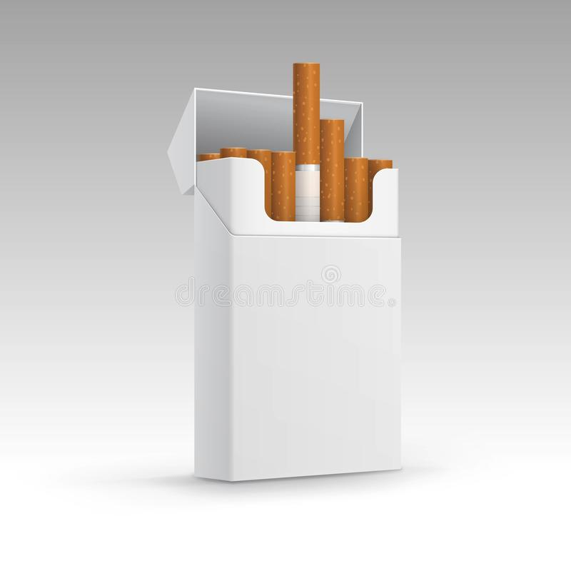 Раскрытый пакет сигарет на предпосылке иллюстрация штока