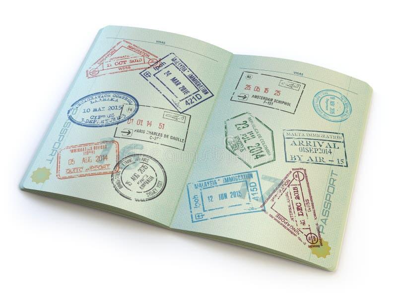 Раскрытый пасспорт с штемпелями визы на страницах на белизне иллюстрация вектора