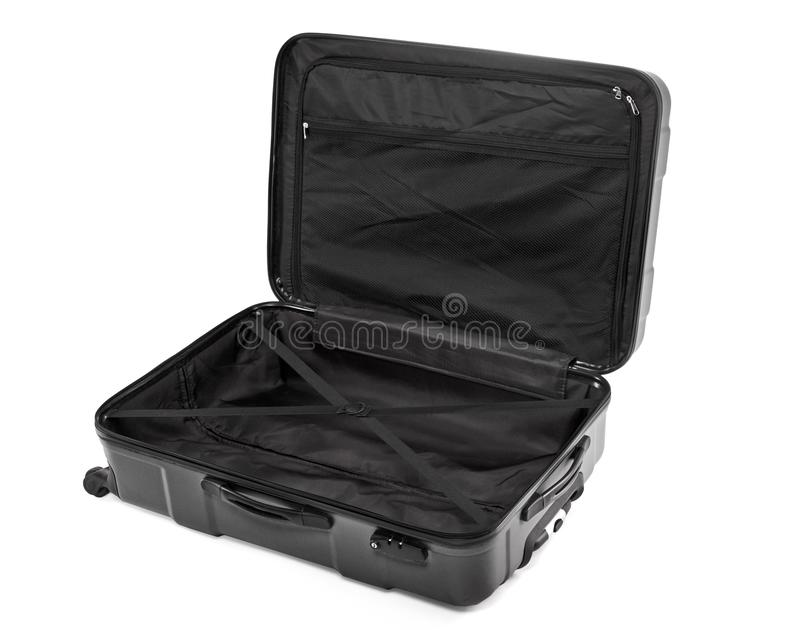Раскрытый пустой чемодан стоковое фото rf