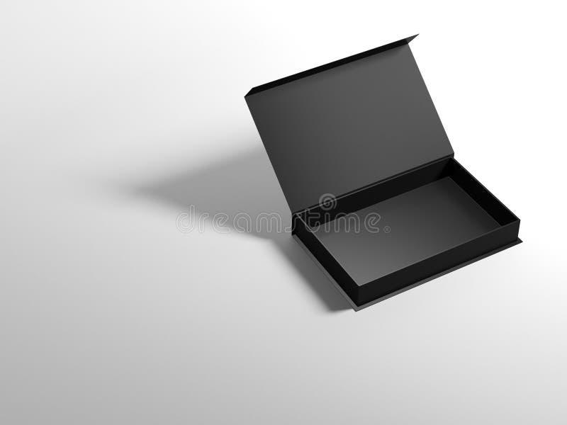 Раскрытый черный ящик на белой предпосылке стоковые изображения rf