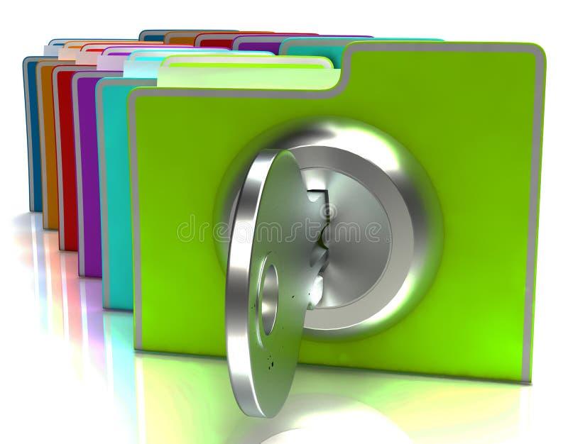 Расклассифицированные файлы с ключевым предохранением от выставки и иллюстрация вектора