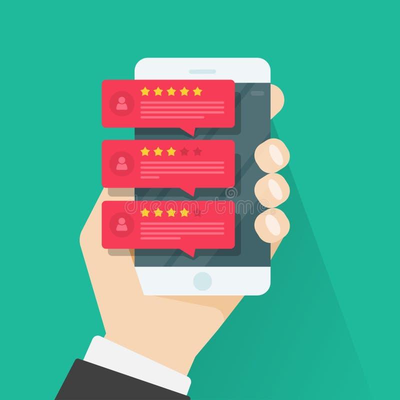 Расмотрите оценку на векторе мобильного телефона, звездах обзоров smartphone, сообщениях рекомендаций, уведомлениях, обратной свя стоковые фотографии rf