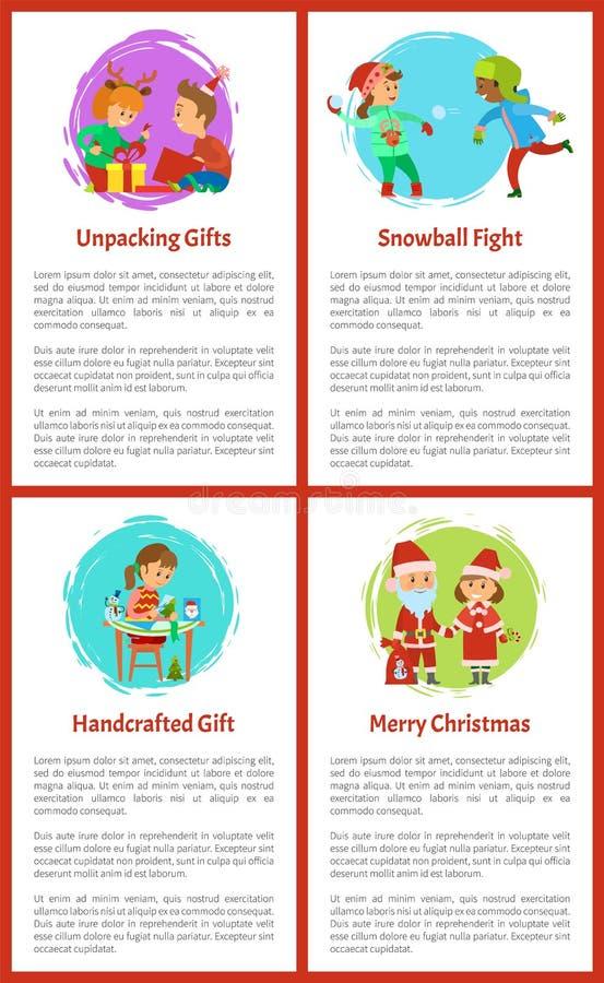 Распаковывать подарки, дети на каникулах зимы бесплатная иллюстрация