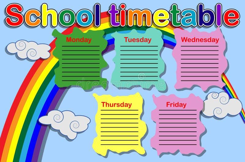 Расписание школы с консервными банками краски иллюстрация штока