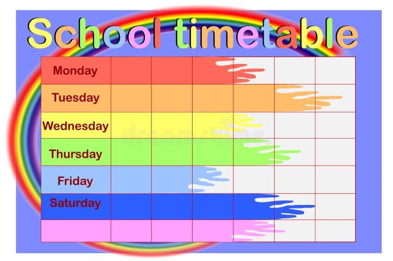 Расписание школы с консервными банками краски иллюстрация вектора