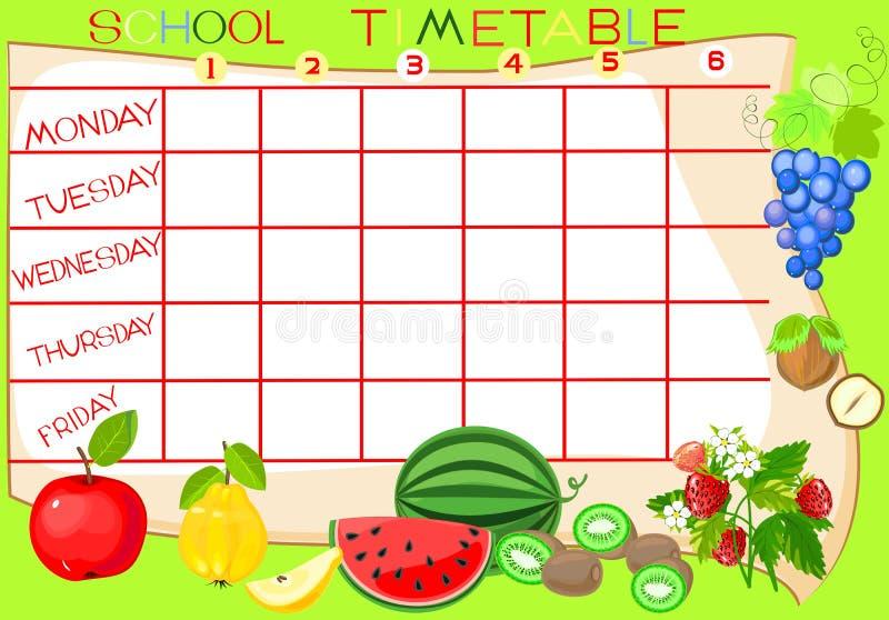Расписание школы с плодоовощ иллюстрация штока