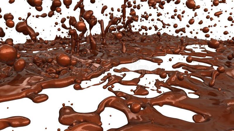 Расплавленный кофе шоколада или какао брызгает и капельки иллюстрация штока