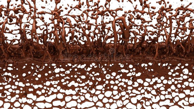 Расплавленный кофе шоколада или какао брызгает и капельки иллюстрация вектора
