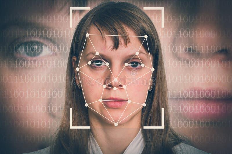 Распознавание лиц женщины - биометрическая концепция проверки стоковая фотография