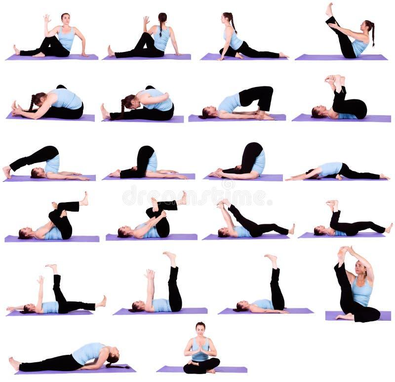 располагает йогу женщины стоковое фото rf