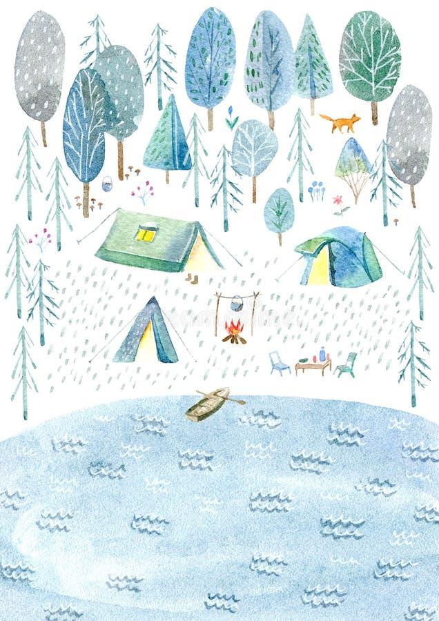 Располагаться лагерем в древесинах и озере Туризм и рыбная ловля иллюстрация вектора