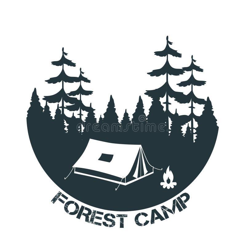 Располагаться лагерем года сбора винограда и внешний логотип приключения бесплатная иллюстрация