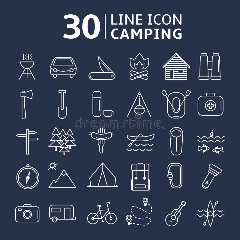 Располагаться лагерем значка Lline установленный также вектор иллюстрации притяжки corel стоковые изображения rf