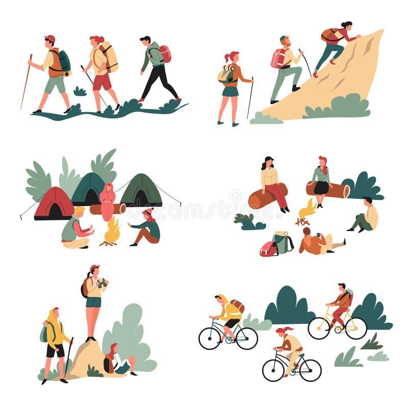 Располагаться лагерем мероприятий на свежем воздухе и идти и лагерный костер велосипедов бесплатная иллюстрация