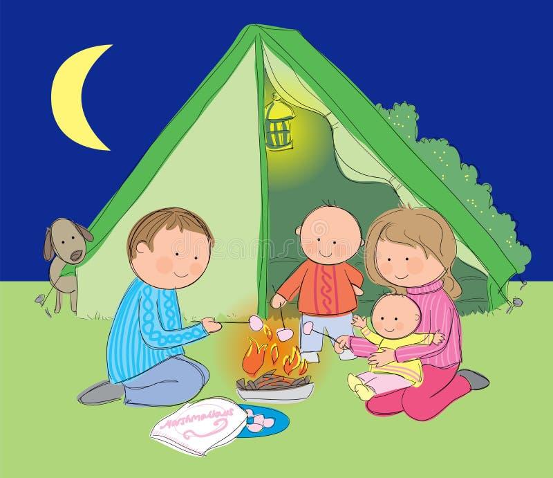 Располагаться лагерем семьи бесплатная иллюстрация