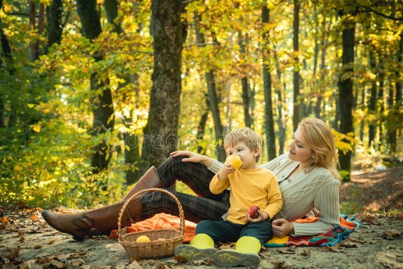 Располагаться лагерем с детьми Счастливые мать и сын с тратить время внешнее в осени паркуют Мы любим время осени совместно стоковые изображения rf