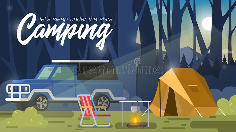 Располагаться лагерем, шатер и костер бесплатная иллюстрация