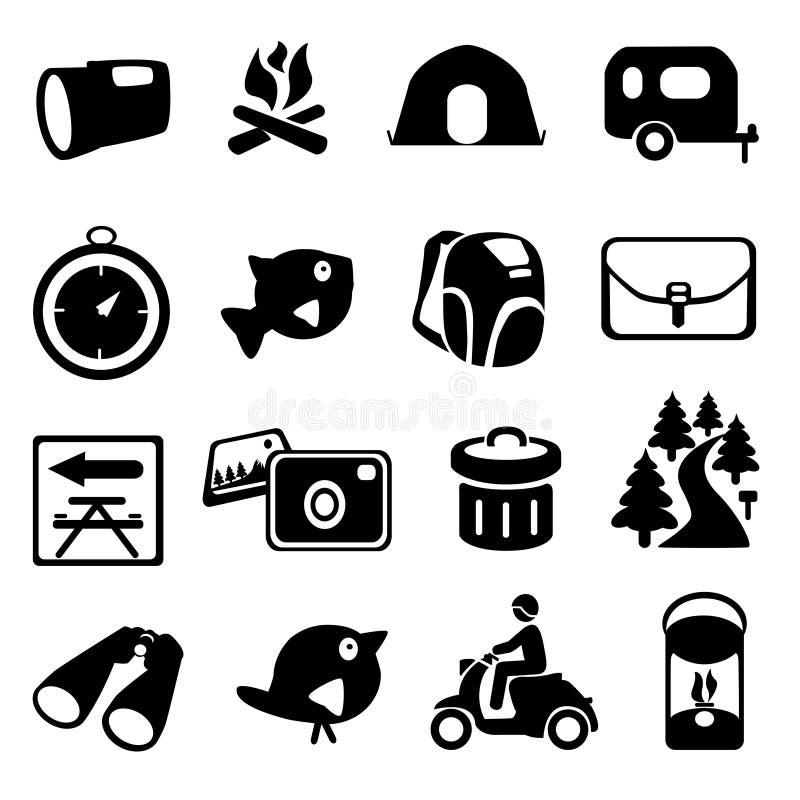 располагаться лагерем hiking комплект иконы иллюстрация вектора