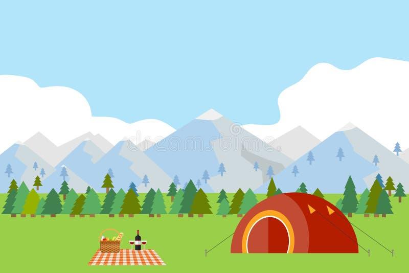 Располагающся лагерем в горах, туристский шатер на зеленой траве против фона гор иллюстрация вектора
