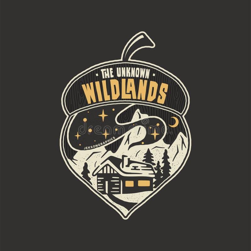 Располагаясь лагерем дизайн иллюстрации жолудя значка На открытом воздухе логотип с цитатой - неизвестные wildlands, для футболки бесплатная иллюстрация