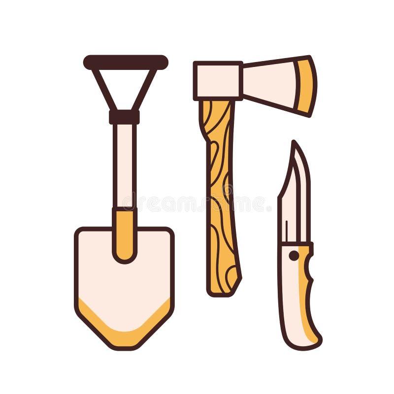 Располагаясь лагерем значки инструментов иллюстрация штока