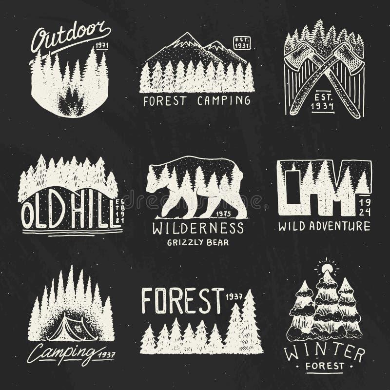 Располагаясь лагерем значки, лес гор coniferous и деревянный логотип древесина песни природы влюбленности grouse одичалая ландшаф бесплатная иллюстрация