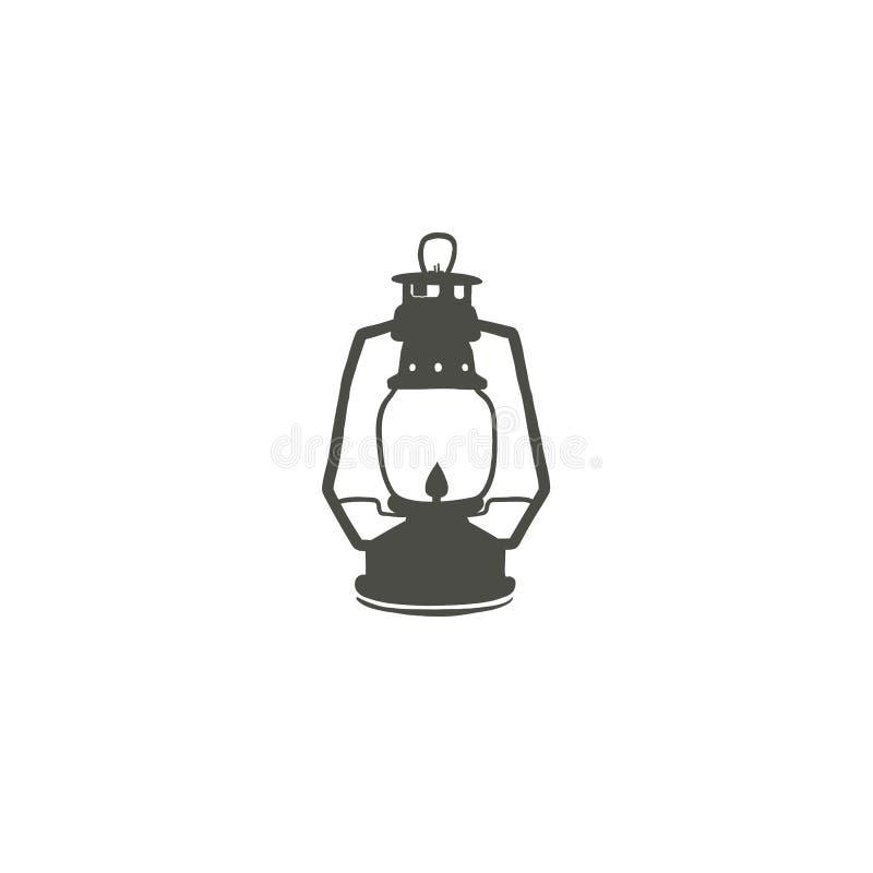 Располагаясь лагерем значок силуэта значка фонарика Символ черноты масляной лампы, пиктограмма Иллюстрация вектора запаса изолиро иллюстрация вектора