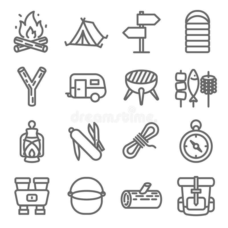 Располагаясь лагерем линия набор вектора значка Содержит такие значки как караван, спальный мешок, шатер, бинокли, рюкзак и больш иллюстрация вектора