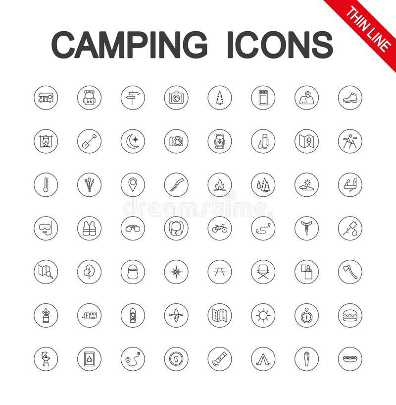 Располагаясь лагерем набор Значок r Editable тонкая линия бесплатная иллюстрация