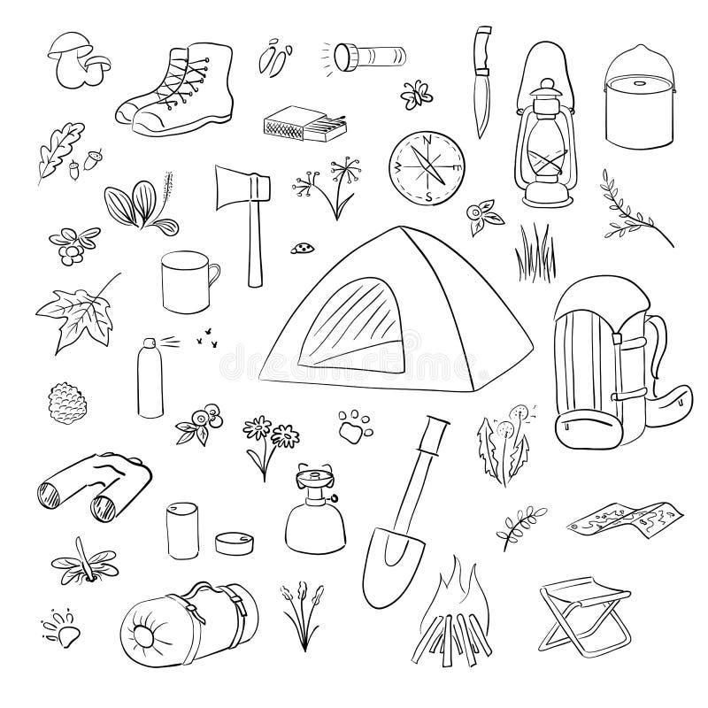 Располагаясь лагерем пеший набор значков Располагаясь лагерем собрание вектора оборудования Бинокли, шар, барбекю, фонарик, ботин иллюстрация штока