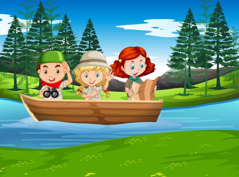 Располагаясь лагерем природа мальчика и девушки исследуя иллюстрация вектора