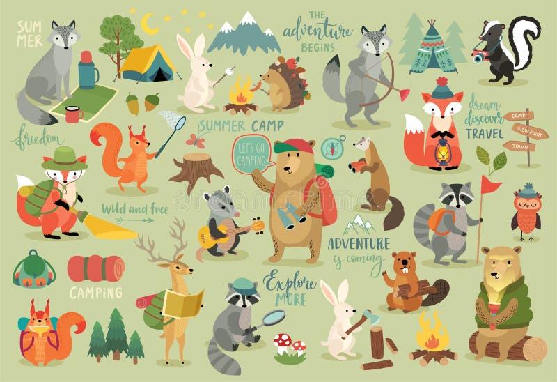 Располагаясь лагерем стиль животных нарисованный рукой, каллиграфия и другие элементы бесплатная иллюстрация