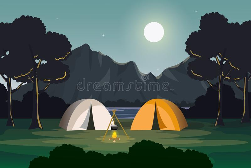 Располагаясь лагерем сцена вечера с горой и ландшафтом озера иллюстрация вектора