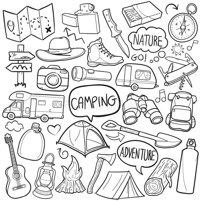 Располагаясь лагерем эскиза значков Doodle горы вектор дизайна традиционного ручной работы бесплатная иллюстрация