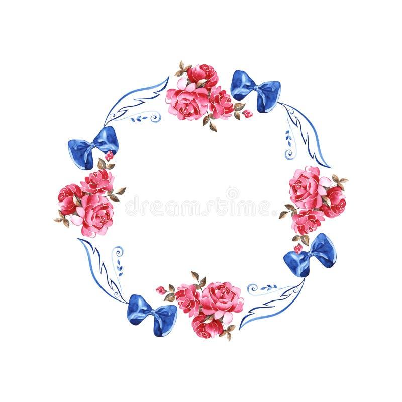 Расположение акварели руки вычерченное с живописными розовыми розами, rosebuds, листьями и курчавой ветвью Флористическое ботанич иллюстрация штока