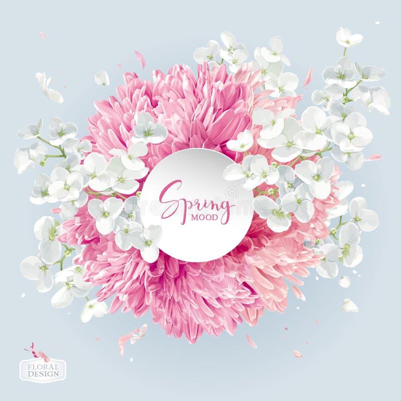 Расположение вектора цветения хризантем и Яблока бесплатная иллюстрация