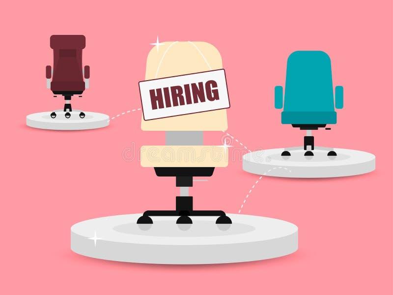 Расположение стульев офиса и знака вакансии Нанимать и завербовывать иллюстрация штока