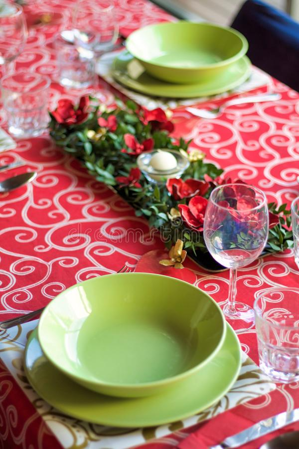 Расположение таблицы на праздники рождества стоковое фото