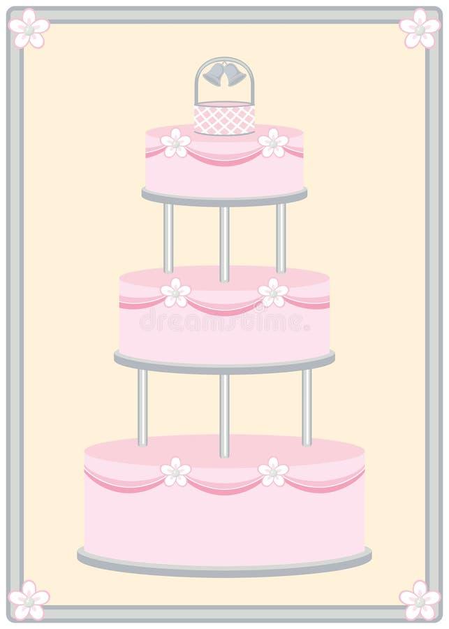 Расположенный ярусами торт венчания с рамкой бесплатная иллюстрация