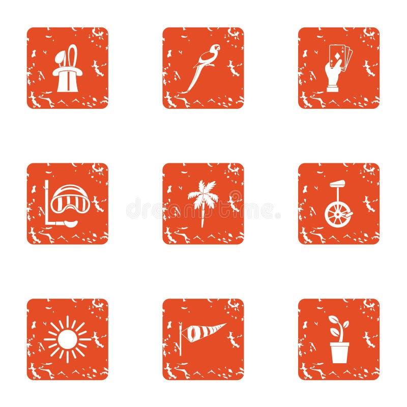 Расположите ступенями установленные значки, стиль grunge иллюстрация вектора