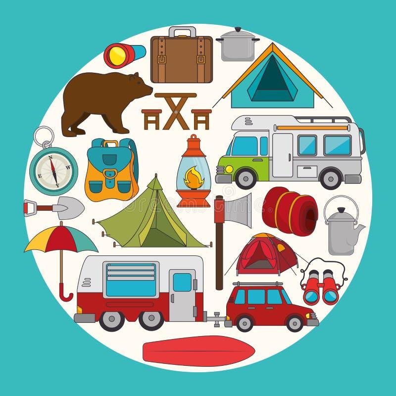 Располагаться лагерем и перемещение лета иллюстрация штока